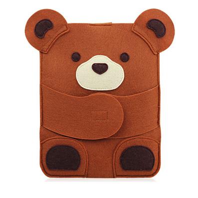 個性卡通咖啡熊毛氈ipad包保護套電腦包