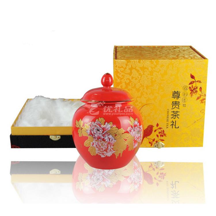 茶叶罐 中国红色釉陶瓷茶叶罐定制