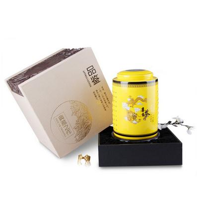 高檔禮盒裝 陶瓷茶葉罐中華柱金罐定制