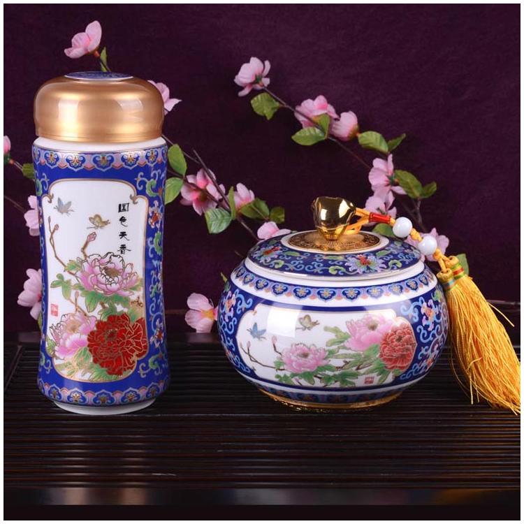 景泰蓝必威体育在线平台套装 陶瓷杯  如意茶叶罐两件套必威bet