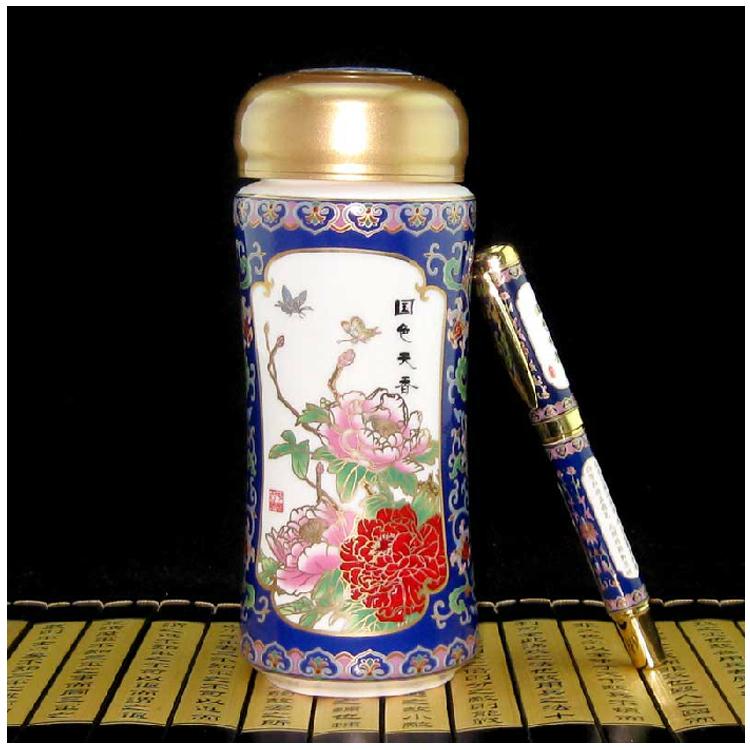 景泰藍商務兩件套 保溫杯+筆兩件套定制