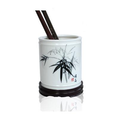 高檔商務禮品陶瓷筆筒 含木質底座定制