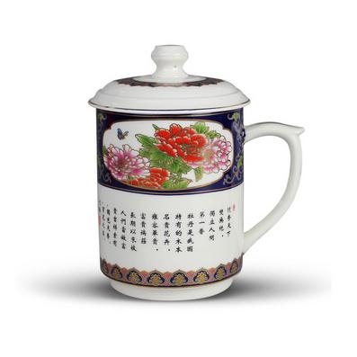 时尚陶瓷礼品杯 新款国色天香直身杯