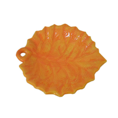 陶瓷色釉花形盤 仿古樹葉陶瓷盤定制