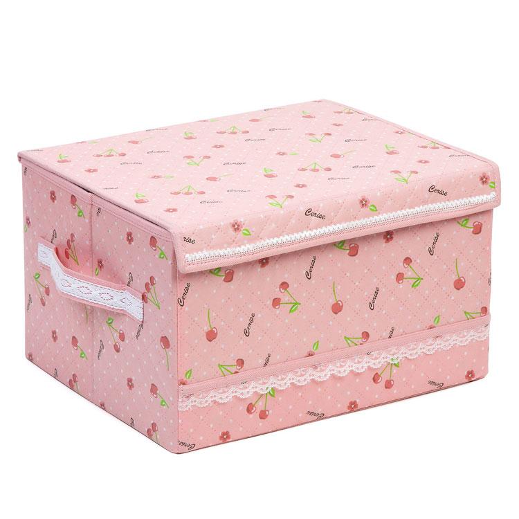樱桃衣物花边收纳箱 家居收纳箱