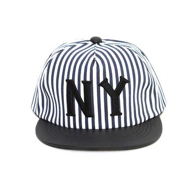 韓國ny條紋休閑平沿帽new york嘻哈街舞棒球帽