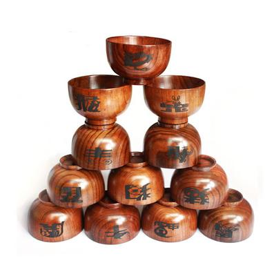 木碗 小饭碗大口碗 十二生肖系列木碗定制