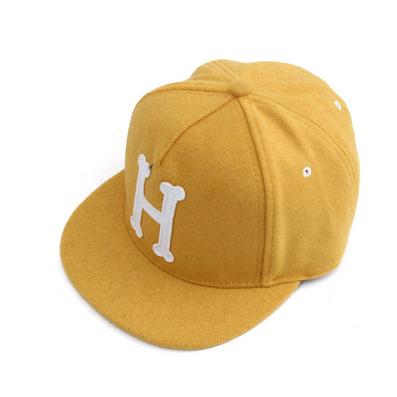 韩版街舞嘻哈棒球帽H字母毛呢  鸭舌平沿帽