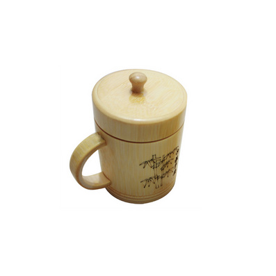 竹制品/竹制茶杯/带盖有柄竹茶杯定制