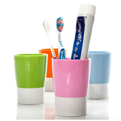 亮麗彩色雙色簡約刷牙杯漱口杯