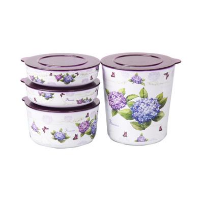 紫陽花雙層儲物盒 保鮮盒(四件套)