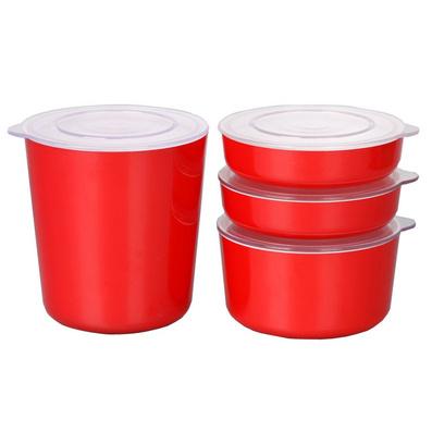 紅色雙層儲物盒 保鮮盒四件套