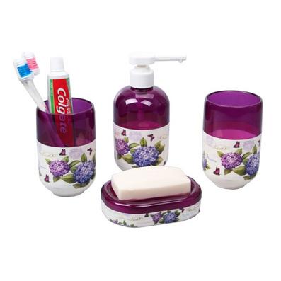 紫陽花浴室四件套 洗漱套裝 漱口杯刷牙杯套裝