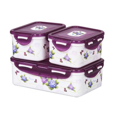 紫陽花保鮮盒三件套(方型)
