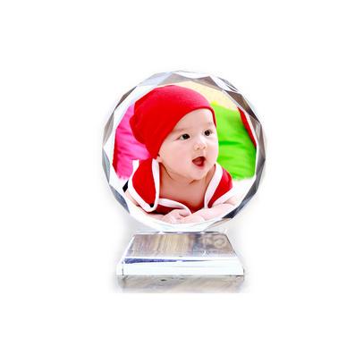 (彩印logo) 供应多彩图案水晶摆件礼品定制