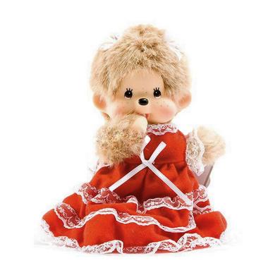 蒙奇奇毛絨玩具 花邊裙女孩 婚慶玩偶