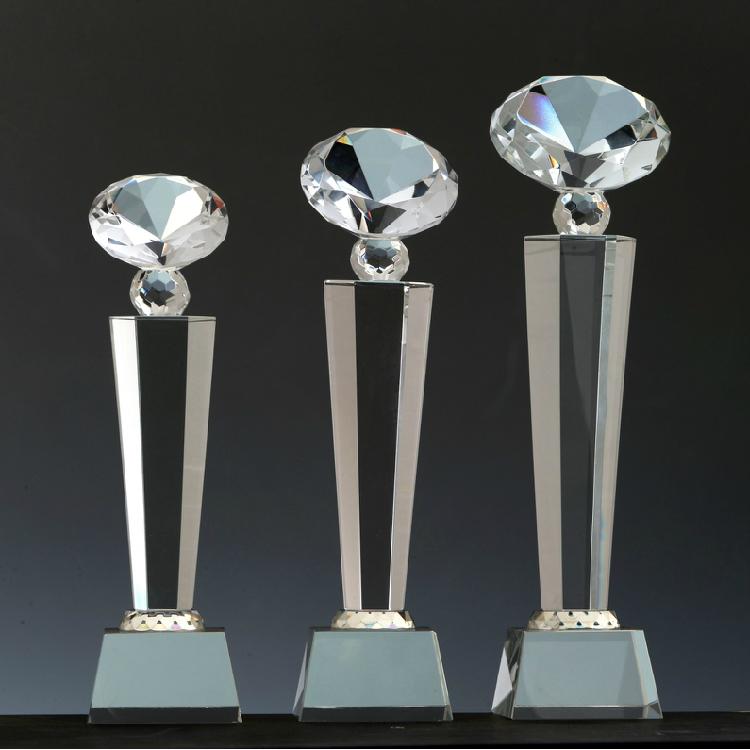 水晶奖杯奖牌定做定做 八角 钻石奖牌奖杯