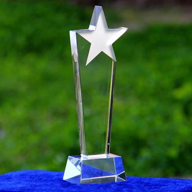 水晶獎杯 水晶獎牌 定制定做五角星獎牌