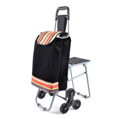 多功能帶凳折疊購物車 老年人購物車定制