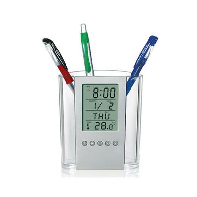 多功能透明电子万年历笔筒