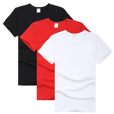 纯棉短袖圆领T恤 180克半精梳纯色全棉T恤