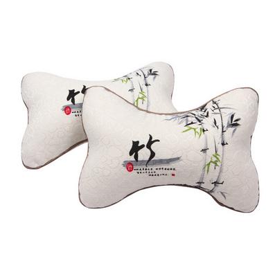 全棉四季竹報平安竹炭頭枕頸枕 車用靠枕定制
