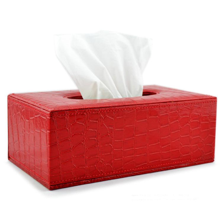 喜庆红色鳄鱼纹皮长方形纸巾盒纸巾抽定制