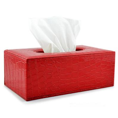 喜慶紅色鱷魚紋皮長方形紙巾盒紙巾抽定制