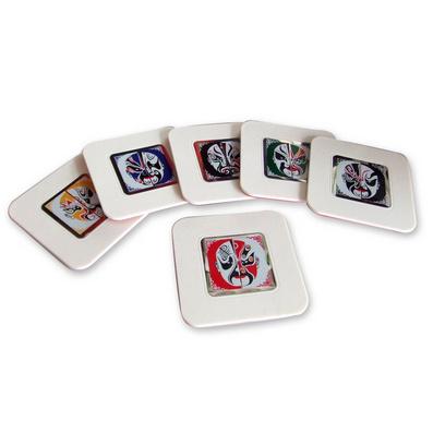 中國風臉譜六片杯墊 創意禮品
