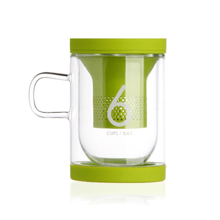 Stylor/法国花色office6杯水2.0纳米硅胶茶滤带盖玻璃杯茶杯定制