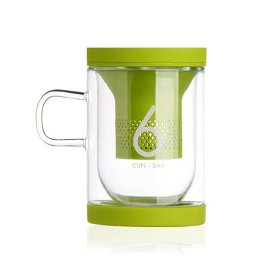 Stylor/法國花色office6杯水2.0納米硅膠茶濾帶蓋玻璃杯茶杯定制