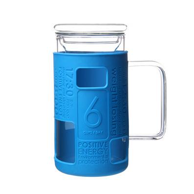 Stylor/法国花色硅胶隔热无铅玻璃带盖茶水杯