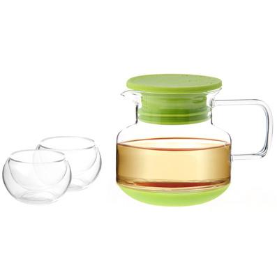 Stylor/法國花色玻璃茶具 硅膠蓋花茶壺茶杯3件套裝定制