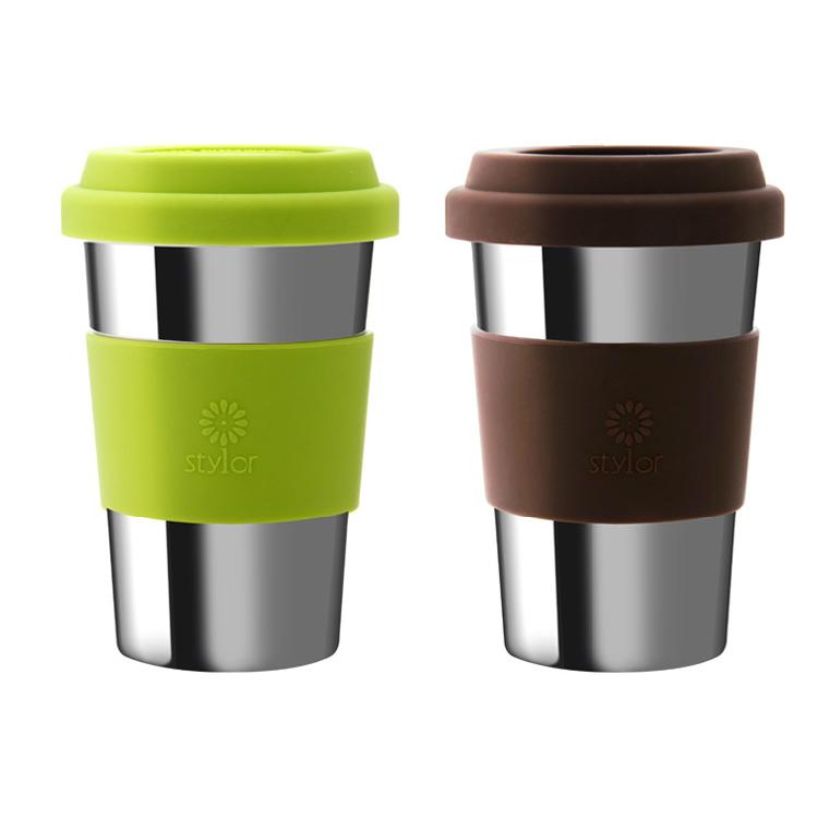Stylor/法国花色双层不锈钢情侣咖啡茶包水杯定制