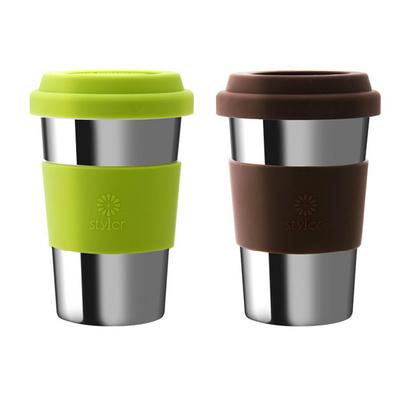 Stylor/法國花色雙層不銹鋼情侶咖啡茶包水杯定制