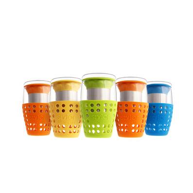 Stylor/法国花色乐想泡茶杯 防滑隔热玻璃杯定制