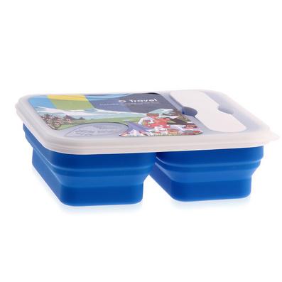 Stylor/法國花色折疊飯盒硅膠雙格納米便當盒定制