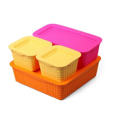 Stylor/法國花色魔方密封盒保鮮盒四件套