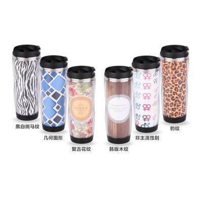 雙層星巴克廣告杯子可換廣告紙咖啡杯定制