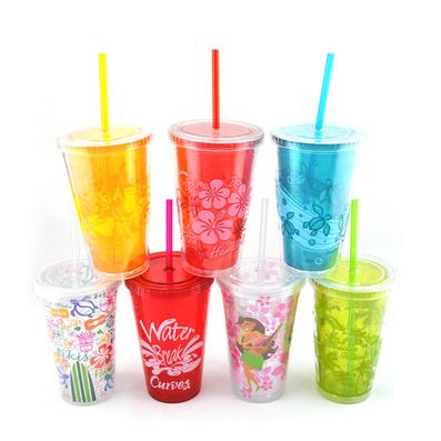 雙層塑料吸管杯400ml吸管水杯 杯子口杯定制