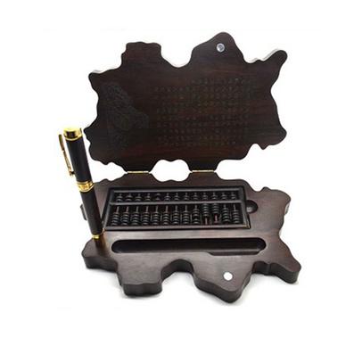 北京印象 黑檀木算盤筆桌面擺件 珠算筆桌面辦公禮品擺件