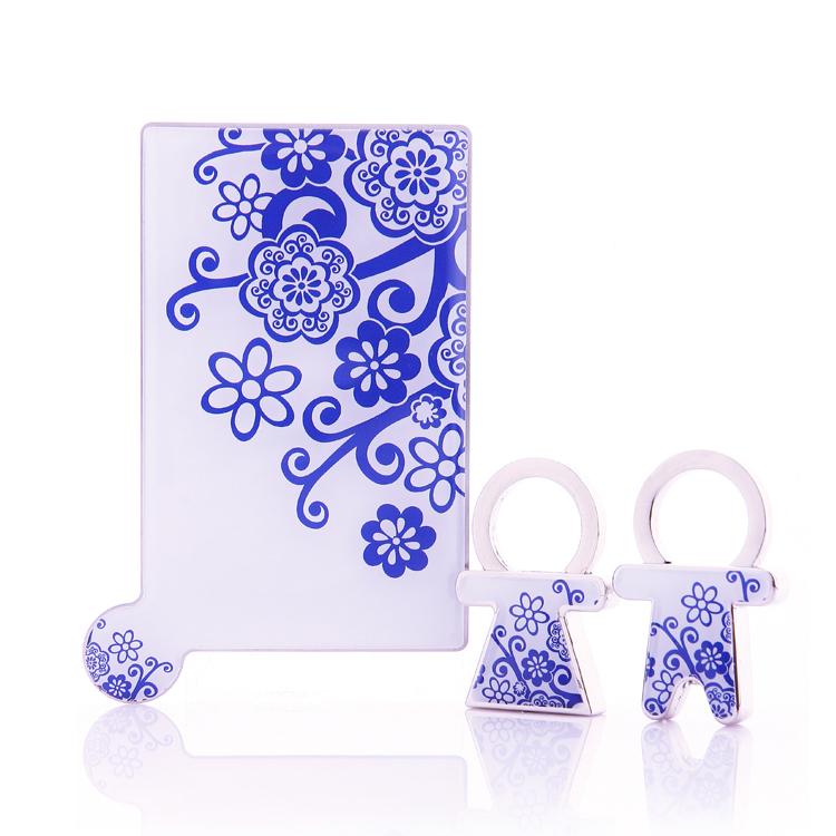 中國特色不繡鋼摔不碎鏡子情侶鑰匙扣禮盒套裝定制