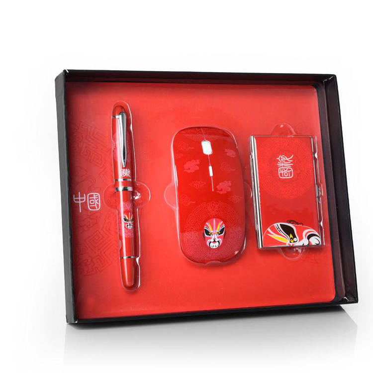 笔+鼠标+鼠标垫+名片盒 四件套商务礼品定制