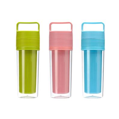 双盖隔茶过滤随手杯 环保随身过滤换页杯 广告礼品杯