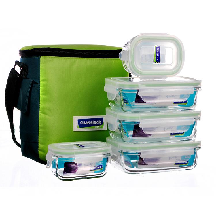 glasslock 钢化玻璃保鲜盒 创意饭盒5件套装