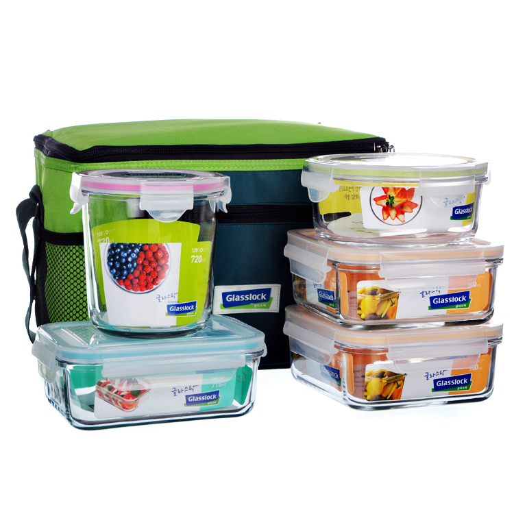 GLASSLOCK钢化玻璃饭盒便当盒保鲜盒旅行餐盒套装定制