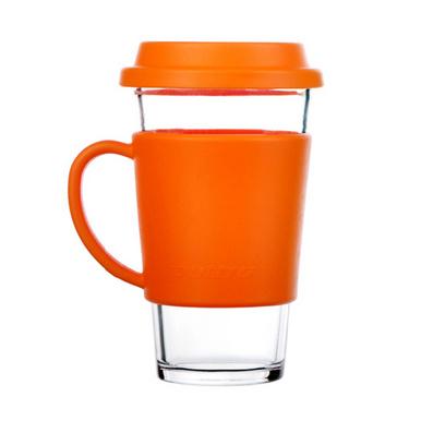 Glasslock樂扣有柄鋼化玻璃水杯帶蓋杯辦公茶杯