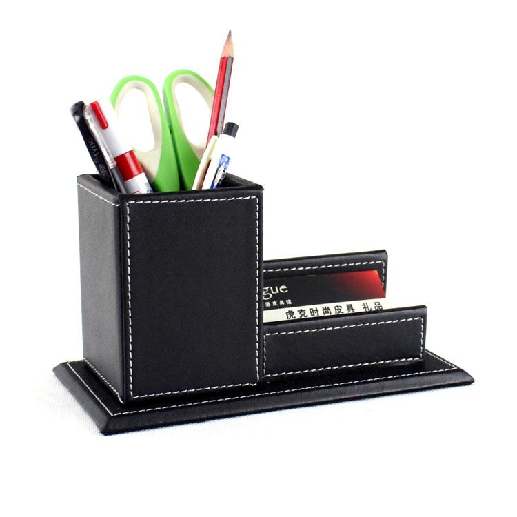 高檔皮革筆筒名片座 皮革筆筒+名片座 二合一 名片夾