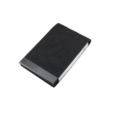 高檔條紋暗花皮質名片盒 金屬豎款名片夾