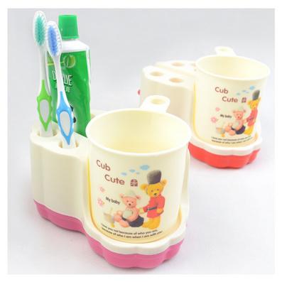塑料潔具套裝牙刷架可愛創意牙具底座帶擠牙膏器